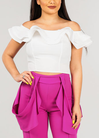 Women's Junior Ladies Sexy Off Shoulder Ruffle Detail Solid White Crop Top