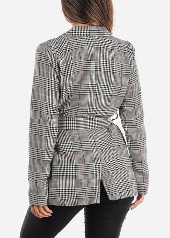 Image of Tie Front Red Houndstooth Print Blazer