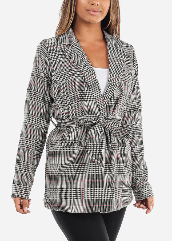 Cheap Tie Front Red Houndstooth Print Blazer