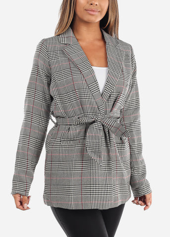 Image of Cheap Tie Front Red Houndstooth Print Blazer