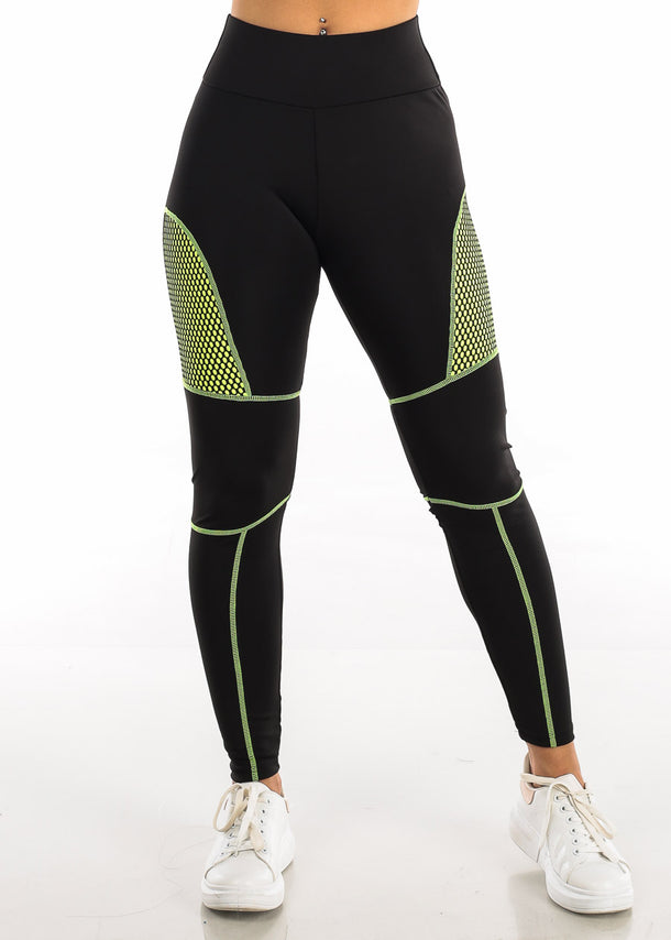Activewear Neon Green Mesh Black Leggings