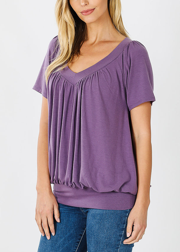Short Sleeve Lilac Blouson Top
