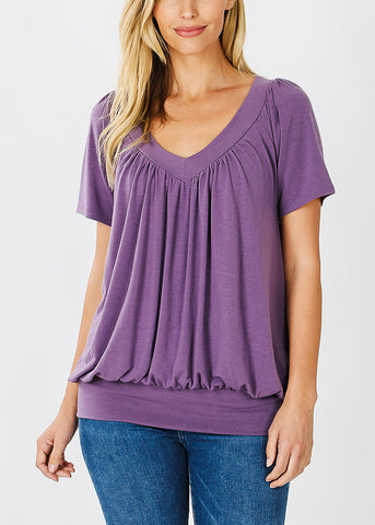 Image of Short Sleeve Lilac Blouson Top
