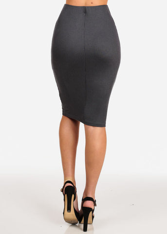 Image of Women's Junior Ladies Professional Business Office Career Wear Sexy Pencil Pull On Stripe Dark Grey Charcoal Midi Skirt