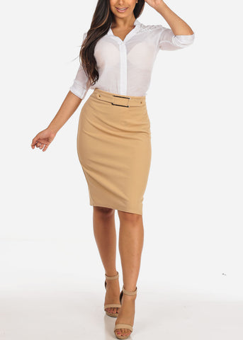 Women's Junior Ladies Dressy High Waisted Faux Front Belt Office Business Career Wear Khaki Pencil Skirt