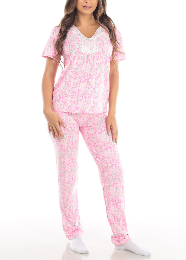 Pink Butterfly Print Top & Pants (2 PCE PJ SET)