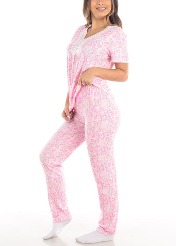 Pink Short Sleeve Butterfly Print Top And Pajama Pants Two Piece Set