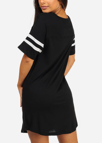 Image of Essential Short Stripe Trim Sleeve V Neckline Above Knee Black Little Dress