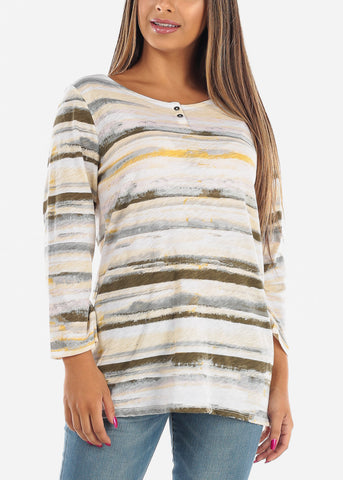 Casual Green Stripe Tunic Top