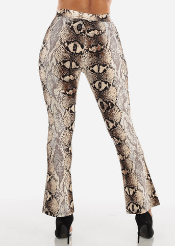 Image of High Rise Snake Print Beige Pant