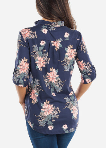 Half Button Up Navy Floral Blouse