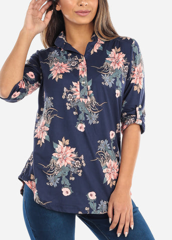 Image of Half Button Up Navy Floral Blouse