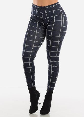 Shinny Butt Lifting Navy Plaid Skinny Pants