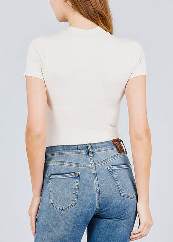 Image of Mock Neck Beige Bodysuit