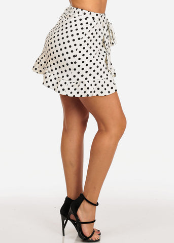 Image of Casual Cute White Polka Dot Mini Skirt W Tie Belt