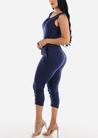 Sleeveless Snap Up Navy Jumpsuit
