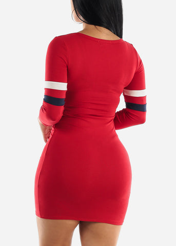 Stripe Sleeves Red Bodycon Mini Dress