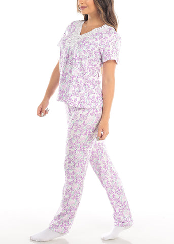 Purple Short Sleeve Butterfly Print Top And Pajama Pants Two Piece Set