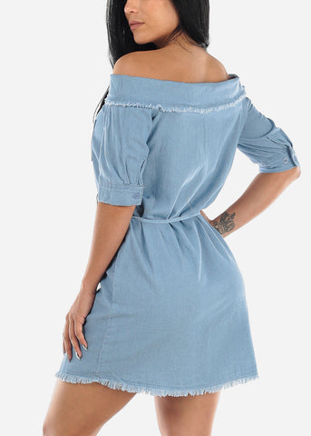 Off Shoulder Light Wash Torn Denim Dress