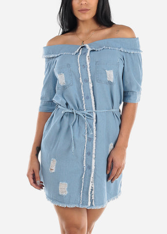 Image of Off Shoulder Light Wash Torn Denim Dress