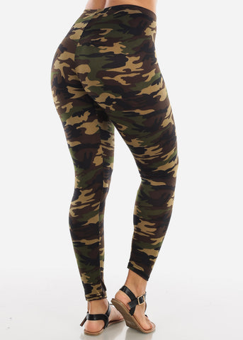 Image of Black Camouflage Print Leggings L139BLKCAMO