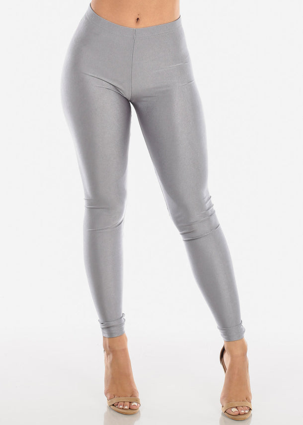 Metallic Silver Mid Rise Leggings