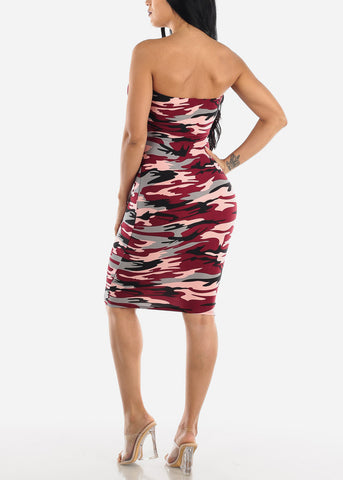 Image of Burgundy Camo Strapless Bodycon Dress