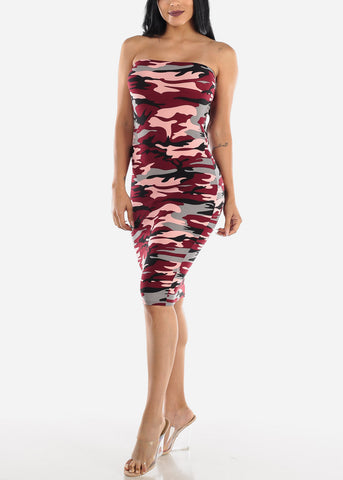 Burgundy Camo Strapless Bodycon Dress