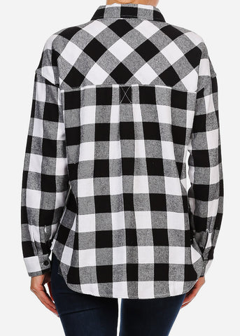 Image of  Black & White Half Button Up Plaid Shirt