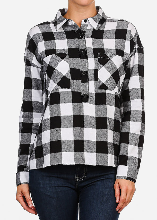 Black & White Half Button Up Plaid Shirt