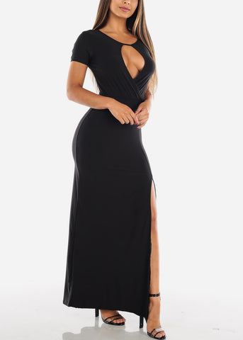 Image of Sexy Stylish Cute Short Sleeve Flowy Wrap Front Long Maxi Solid Black Summer Dress For Women Ladies Junior On Sale