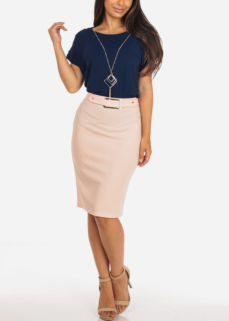 Women's Junior Ladies Dressy High Waisted Faux Front Belt Office Business Career Wear Mauve Pencil Skirt