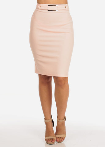 Image of Women's Junior Ladies Dressy High Waisted Faux Front Belt Office Business Career Wear Mauve Pencil Skirt