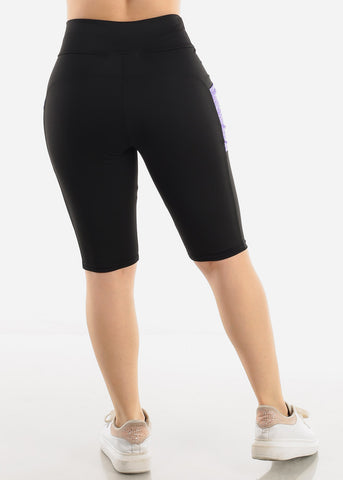 Black & Purple Activewear Shorts