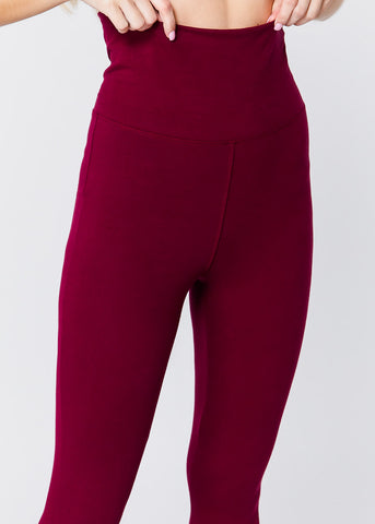 Image of High Waisted Burgundy Leggings