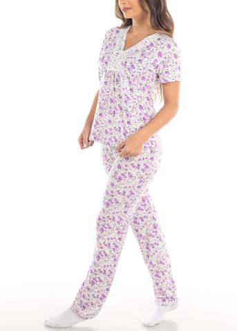Image of Purple Short Sleeve Floral Print Top And Pajama Pants Two Piece Set