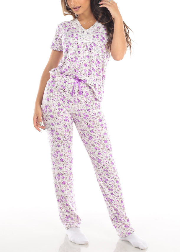 Purple Short Sleeve Floral Print Top And Pajama Pants Two Piece Set