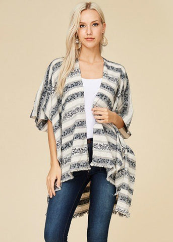 Lightweight Printed Black Cardigan