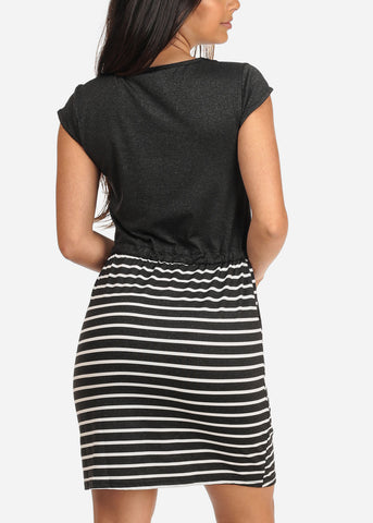 Women's Junior Ladies Casual Stretchy Love Rhinestone Design Partial Stripe Charcoal Dress