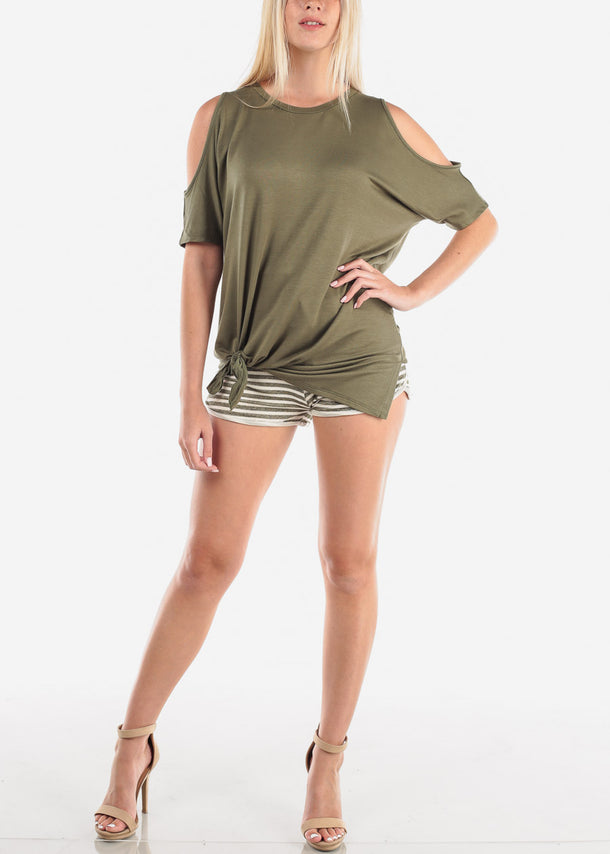 Olive Stripe Shorty Shorts