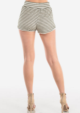 Image of Olive Stripe Shorty Shorts