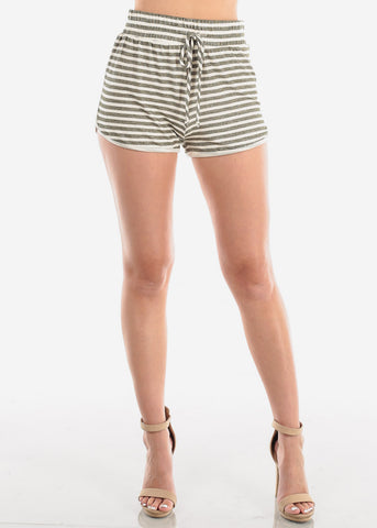 Image of Women's Junior Ladies Casual Cute Must Have High Waisted Super Soft Olive And White Stripe Shorty Summer Short Shorts