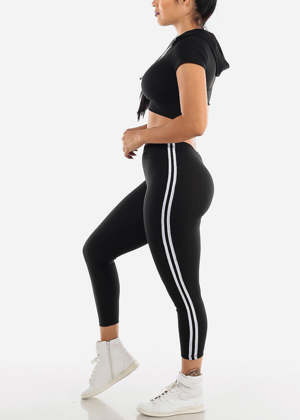 Black Ribbed Crop Hoodie & Leggings (2 PCE SET)