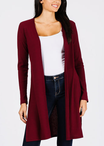 Ribbed Brick Maxi Cardigan