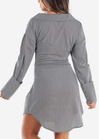 Front Tie Stripe Grey Dress