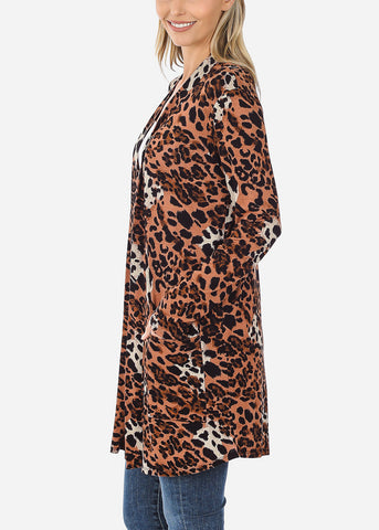 Image of Brown Animal Print Cardigan
