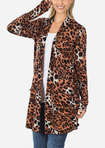 Brown Animal Print Cardigan
