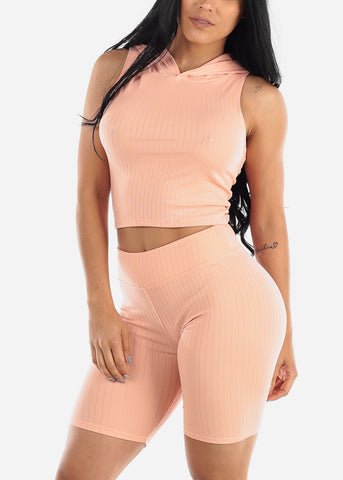 Image of Ribbed Pink Top & Bermuda Shorts (2 PCE SET)