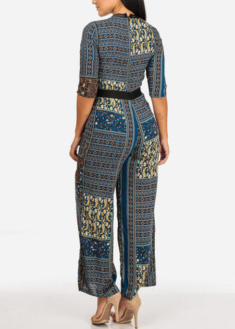 Image of Multi Print Wide Leg Romper