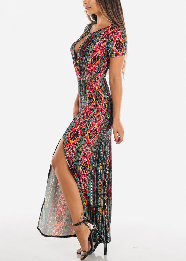 Stylish Multicolor Printed Maxi Dress